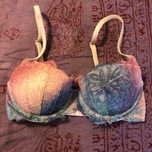 VS Pink multi color lace date push up bra size 30C